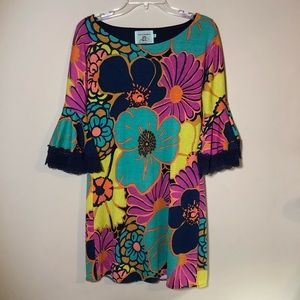 Judith March Vibrant Floral Bell Sleeve Dress
